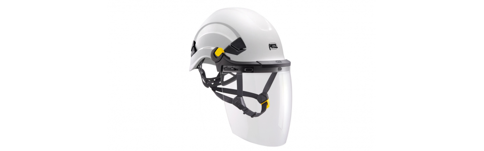 Petzl VIZEN face shield shown installed on a Petzl VERTEX helmet