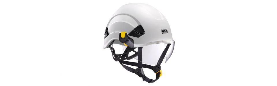 Petzl VIZIR eye shield shown installed on a Petzl VERTEX helmet