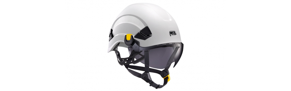 Petzl VIZIR SHADOW eye shield shown installed on a Petzl VERTEX helmet