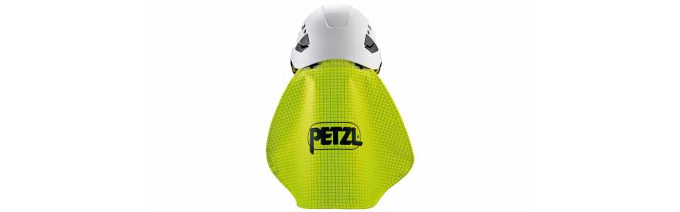 Nape protector shown installed on Petzl VERTEX helmet