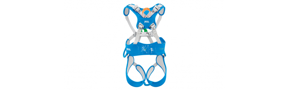 Petzl OUISTITI full body kids harness (showing back).