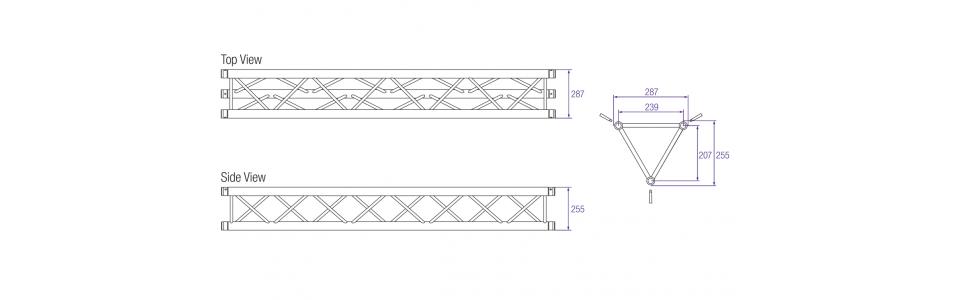 Prolyte H30D Aluminium Triangular Truss Dimensions