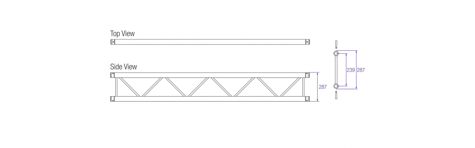 Prolyte H30L Series Aluminium Ladder Truss Dimensions