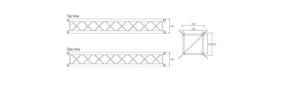 Prolyte H30V Series Aluminium Square Truss Dimensions