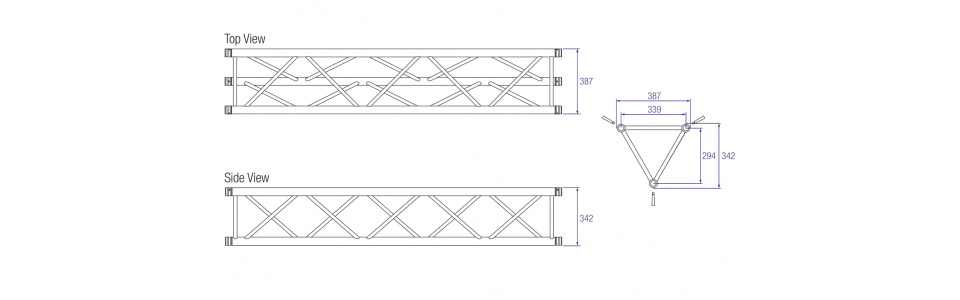 Prolyte H40D Aluminium Triangular Truss Dimensions