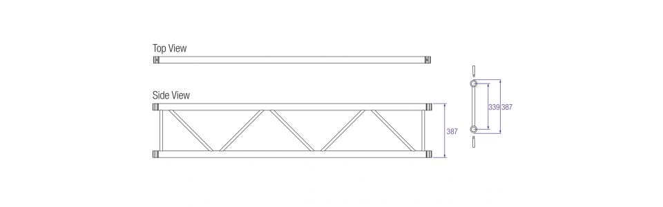 Prolyte H40L Series Aluminium Ladder Truss Dimensions