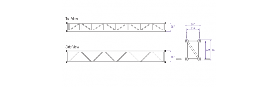Prolyte H40 Series Aluminium Rectangular Truss Dimensions