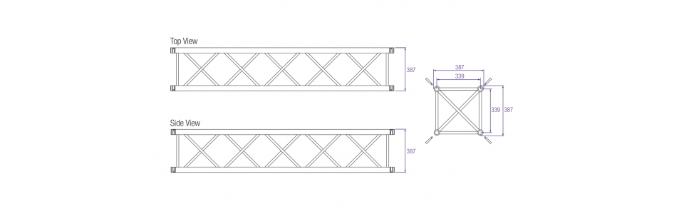 Prolyte H40V Aluminium Square Truss Dimensions