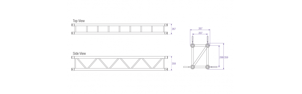 Prolyte S36R Series Aluminium Rectangular Truss, Dimensions