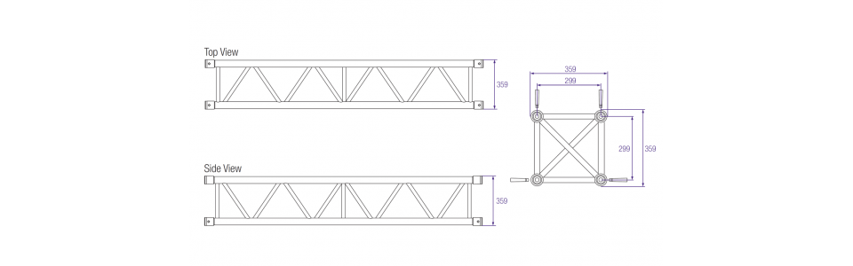 Prolyte S36V Aluminium Square Truss Dimensions