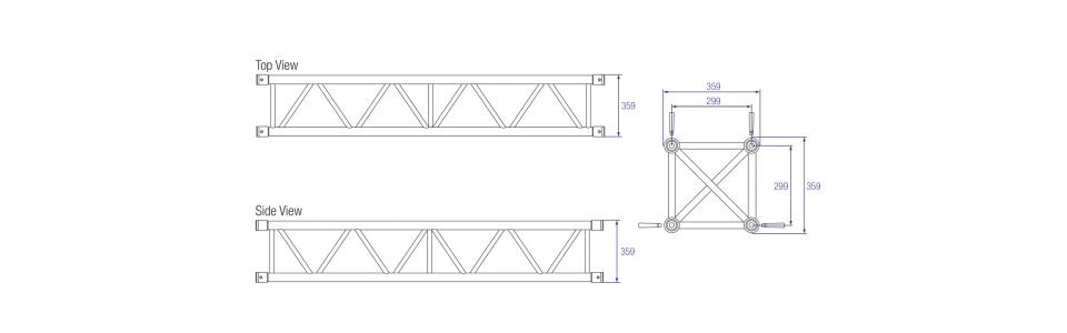 Prolyte S36V Aluminium Square Truss Dimensions