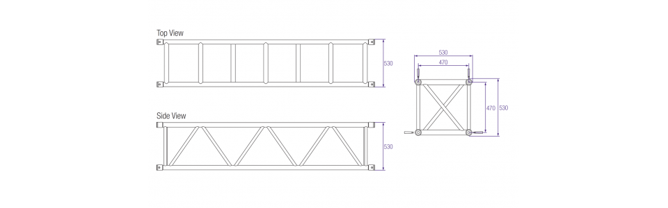 Prolyte S52V Aluminium Square Truss Dimensions