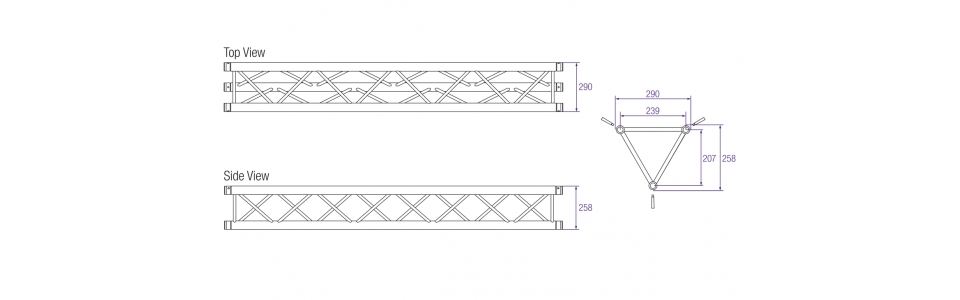 Prolyte X30D Aluminium Triangular Truss Dimensions