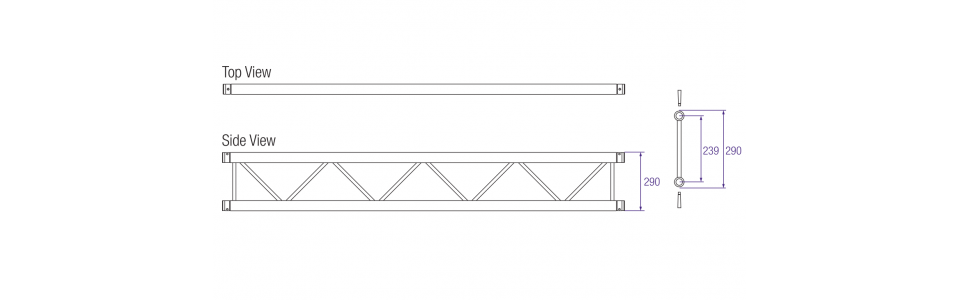 Prolyte X30 Series Aluminium Ladder Truss Dimensions