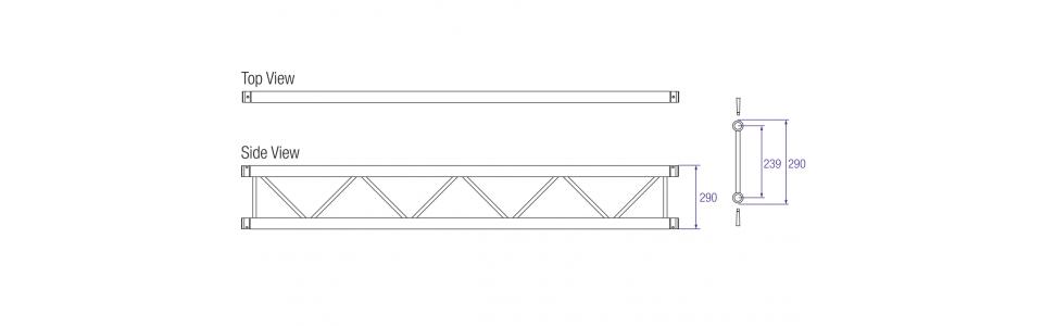 Prolyte X30 Series Aluminium Ladder Truss Dimensions