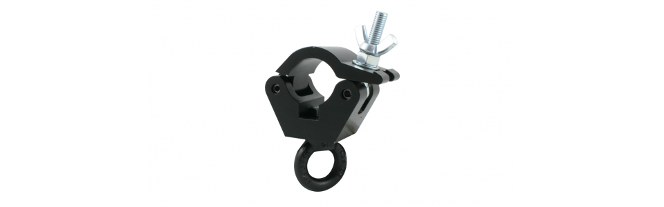 Doughty Half Coupler Hanging Clamp, Powder Coated Black 340kg